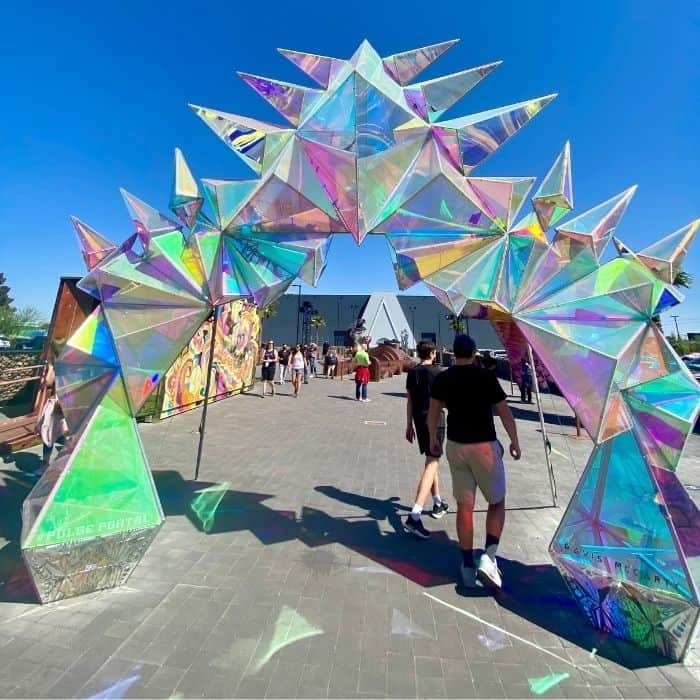 outside art installations at Area15 in Las Vegas