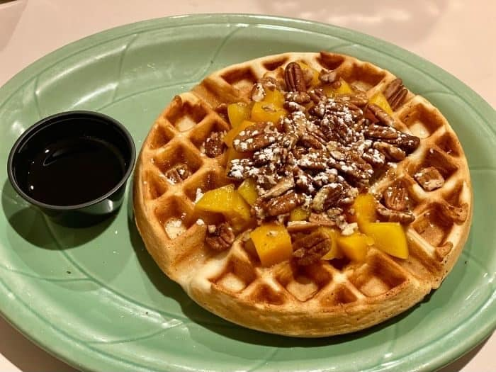 peach waffle at Rustlers Restaurant