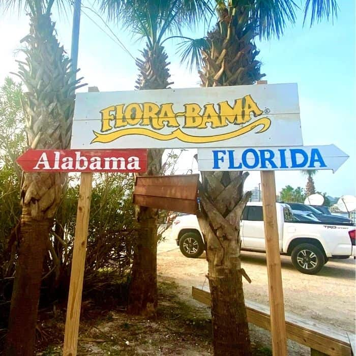 state line divide sign at Flora-Bama Yacht Club