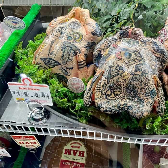 tattoo chickens at Omega Mart