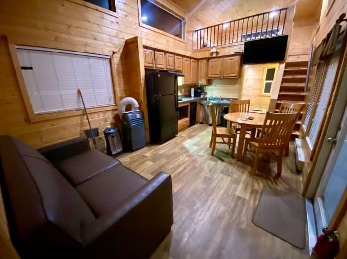 Living area Inside the Deluxe Cabin at the Flagstaff KOA Holiday