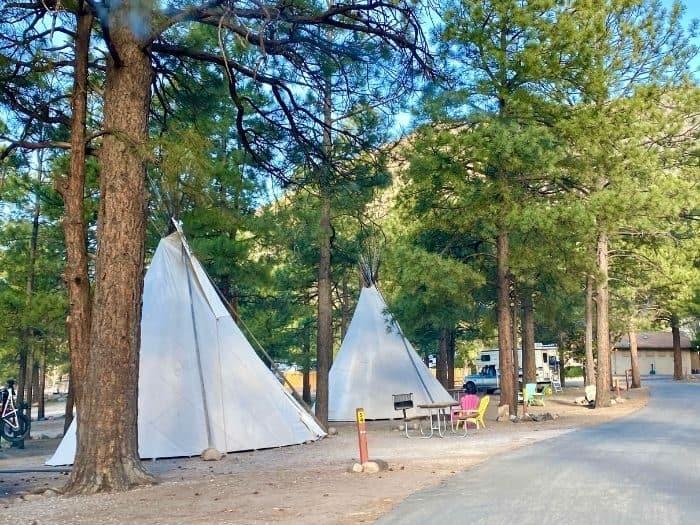 Teepee rentals at the Flagstaff KOA Holiday