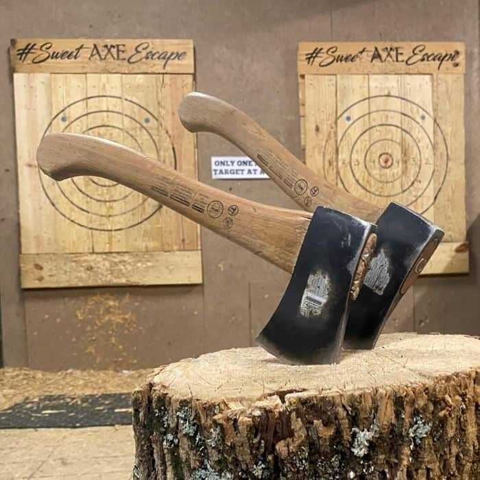 axe throwing at Sweet Escape Adventures