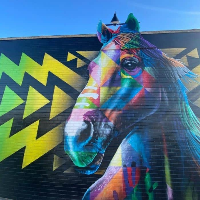 colorful horse mural on the The MoCo Mural Trail