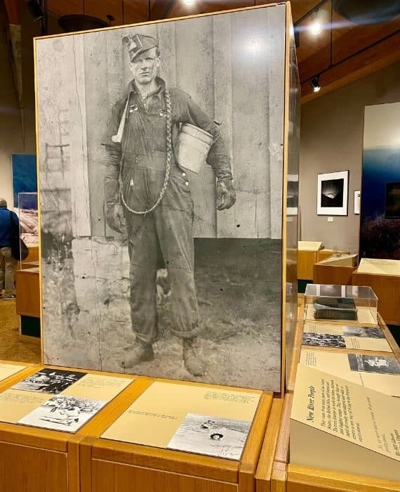 exhibit at Canyon Rim Visitor Center in West Virginia