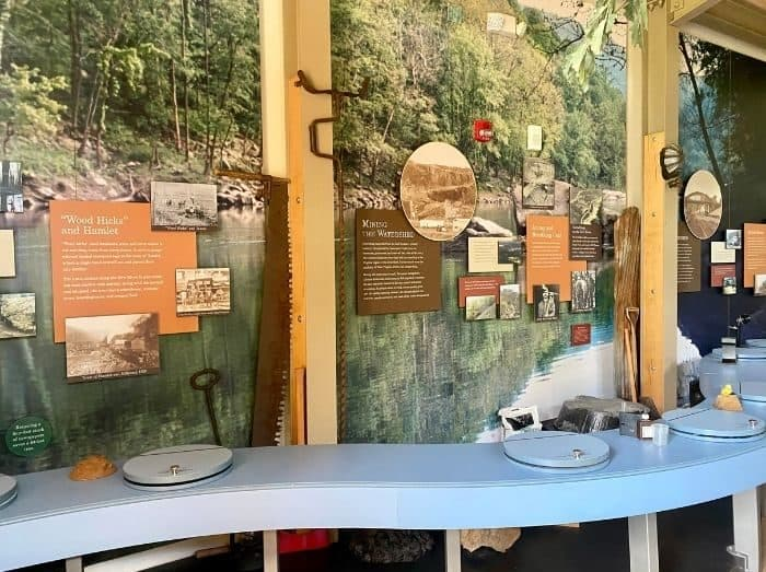 exhibits at New River at Sandstone Falls Visitor Center in West Virginia