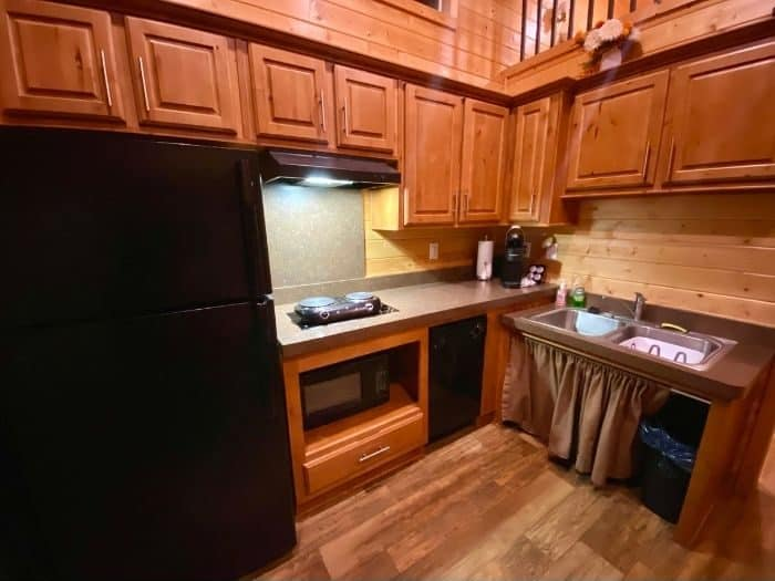 full kitchen Inside the Deluxe Cabin at the Flagstaff KOA Holiday