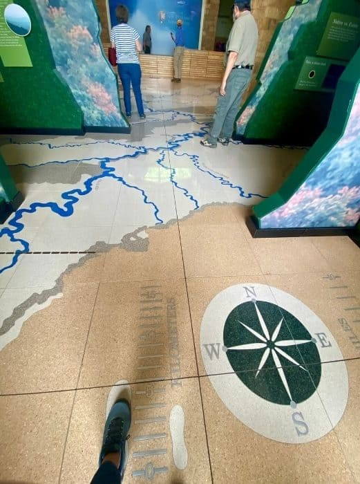 map of the New River at Sandstone Falls Visitor Center in West Virginia