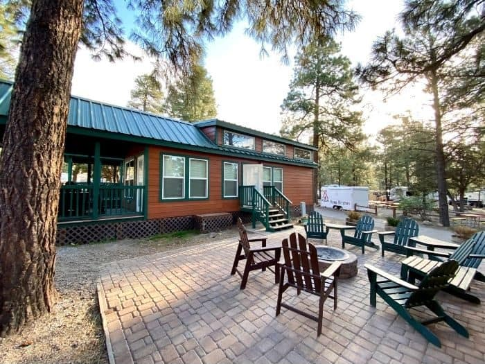 outside of the deluxe cabin at the Flagstaff KOA Holiday