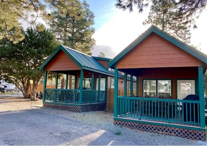 outside the Deluxe Cabin at the Flagstaff KOA Holiday