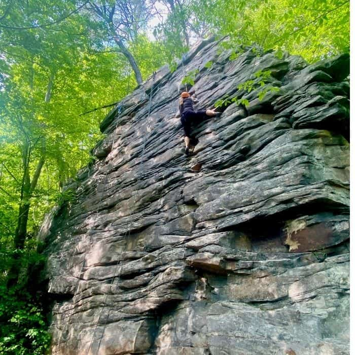 rock climbing at Small Wall in New River Gorge National Park