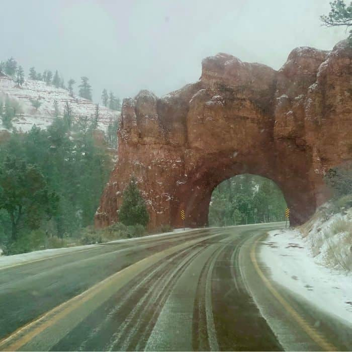 snowy road with a tunnel in Utah