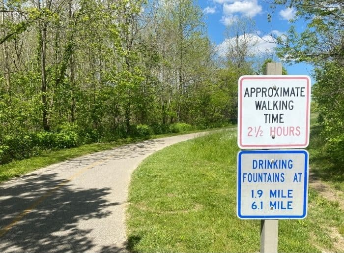 walking time sign at Miami Whitewater Forest