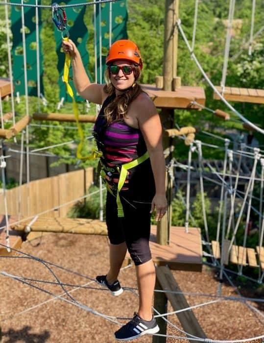 Adventure Mom Nedra McDaniel on the Kanga Klimb course
