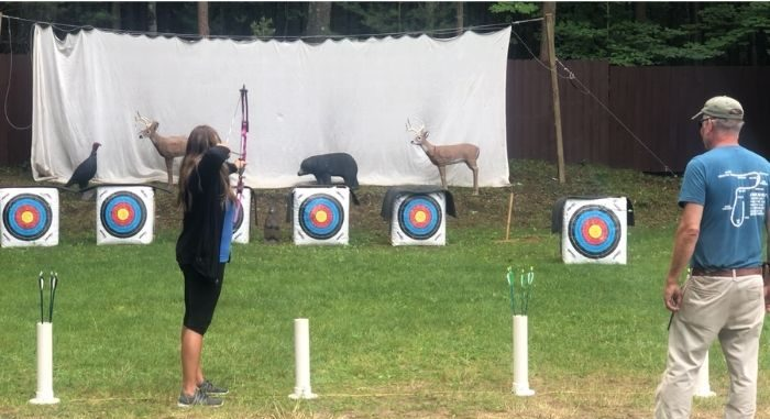 Adventure mom at archery range at Muskegon Luge