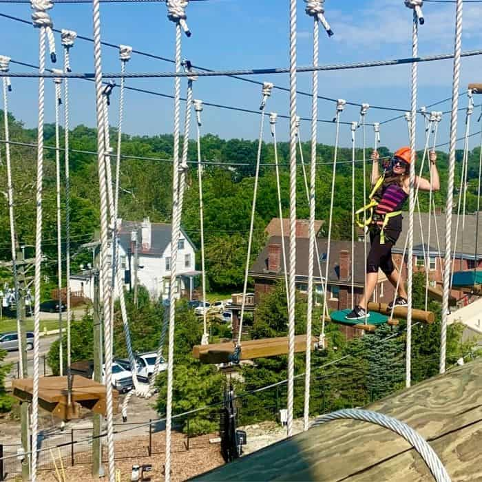 Adventure mom on the aerial adventure course at the Cincinnati Zoo