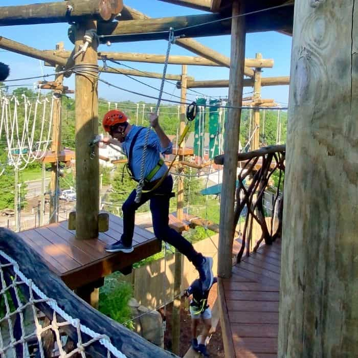 Frank Marzullo on the Kanga Klimb aerial Course
