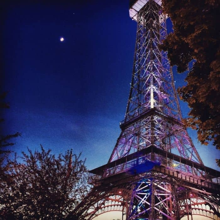 Kings Island Eiffel Tower at night