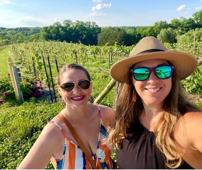 Nedra McDaniel and friend at Vinoklet Winery in Ohio