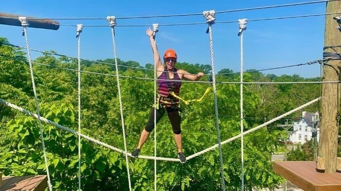 Nedra McDaniel on the Kanga Klimb aerial adventure course