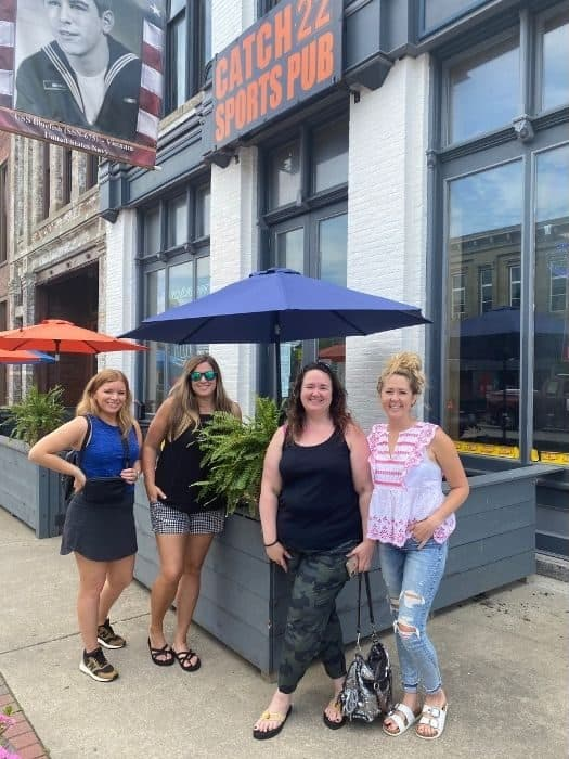 bloggers outside Catch 22 Sports Pub in Greenfield Ohio