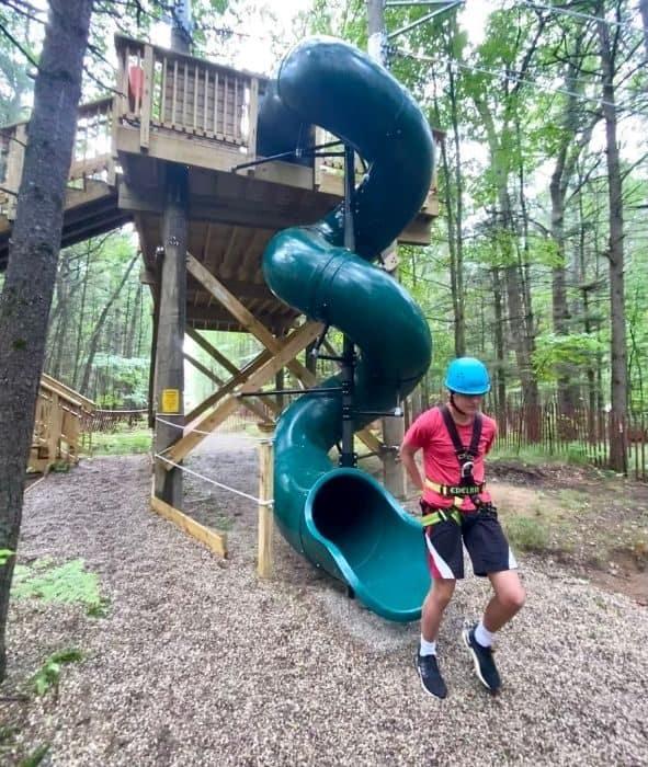 bottom of the slide for zipline at Muskegon Luge Adventure Sports Park