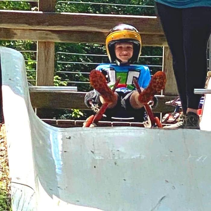 boy on summer wheel luge in Muskegon
