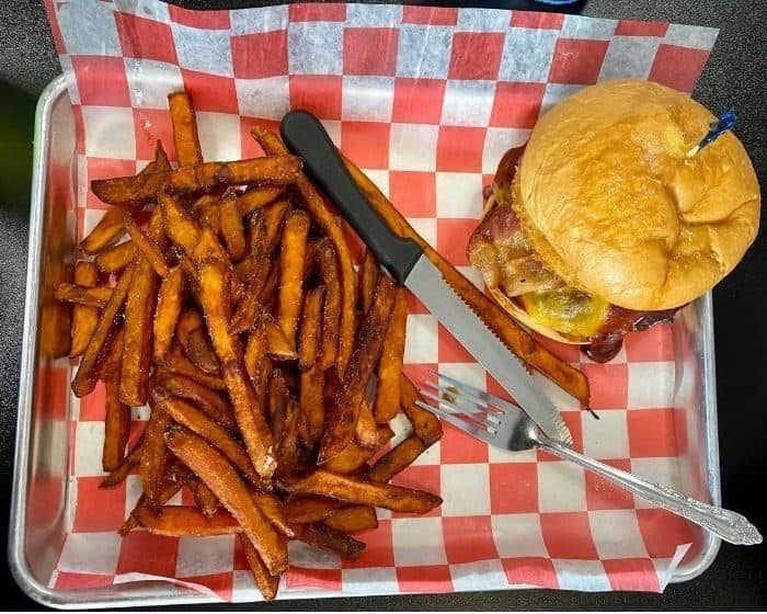 burger at Catch 22 Sports Pub in Greenfield Ohio