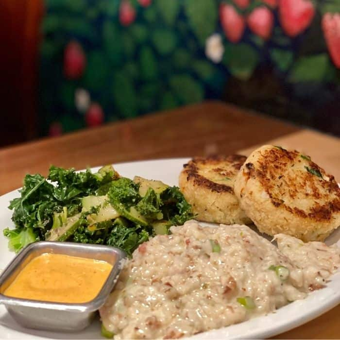 crab cakes at Sunrise Cafe Yellow Springs