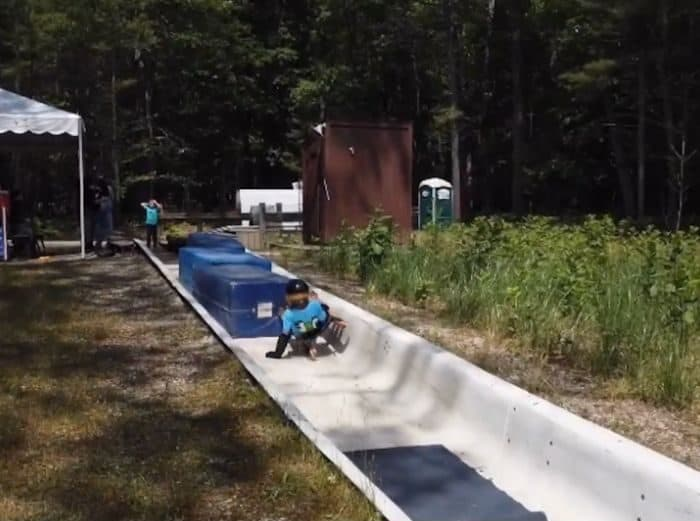 crash pads at the bottom of the summer wheel luge track at Muskegon Luge