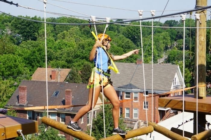 girl on the Kanga Klimb aerial adventure course at Cincinnati Zoo