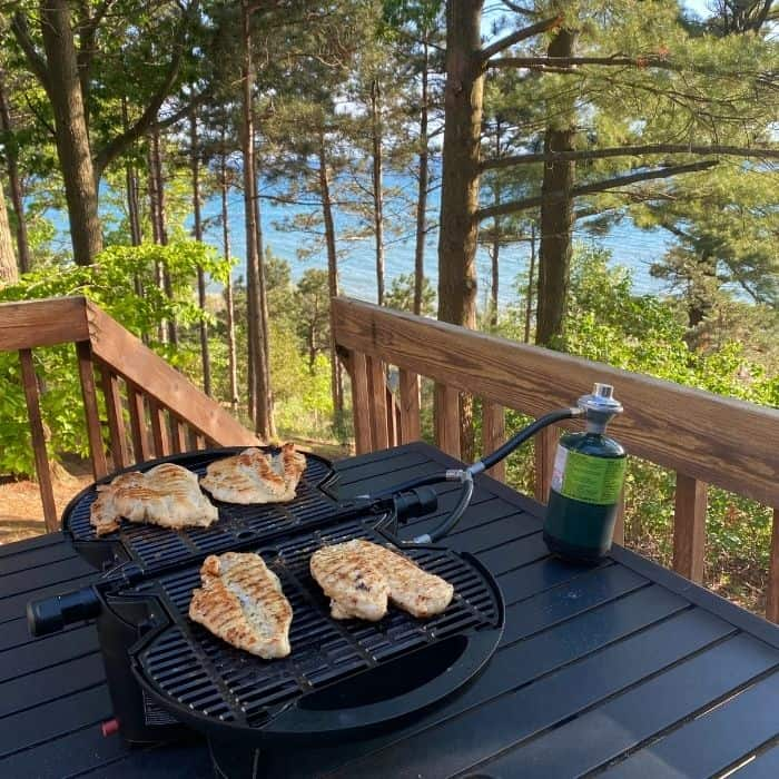 grilled chicken on the NomadiQ Portable Grill