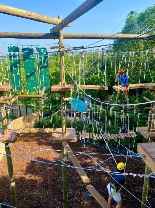 kids and adults on the Kanga Klimb course