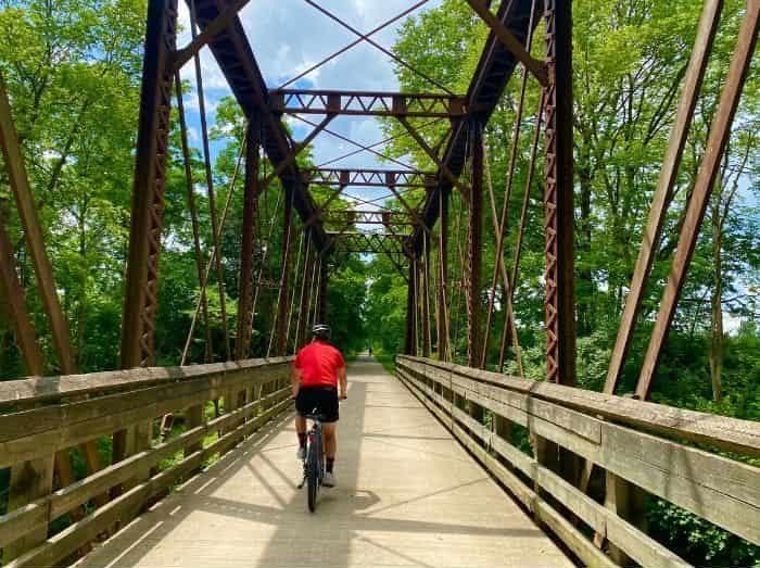 man Biking the Little Miami Scenic Trail