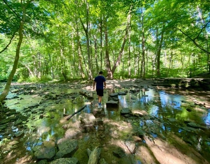 teenager walking across the creek at Glen Helen Nature Preserv
