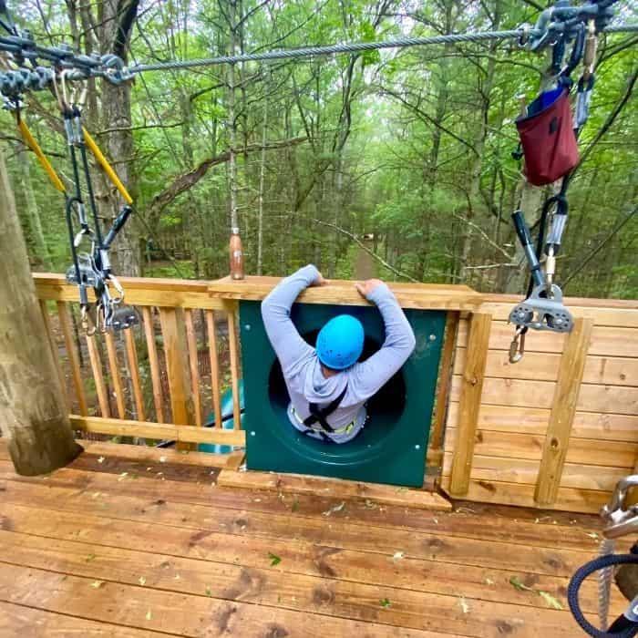 top of slide for zipline at Muskegon Luge Adventure Sports Park