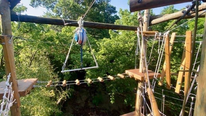 trapeze bar on the Kanga Klimb aerial adventure course at Cincinnati Zoo