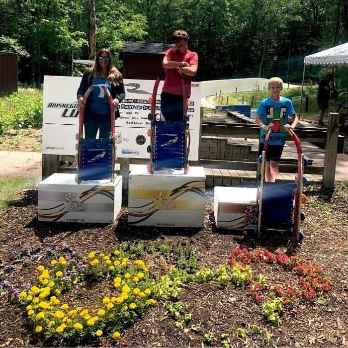 winners podium at Muskegon Luge Adventure Sports Park