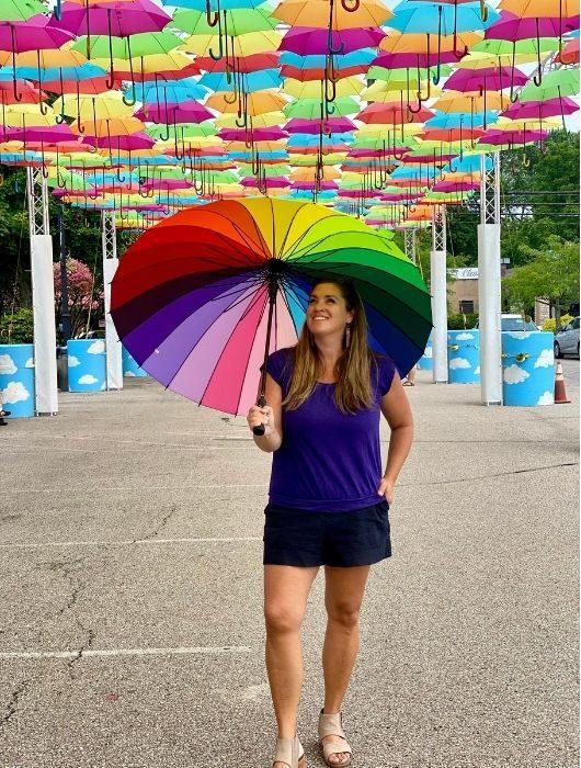 Adventure Mom Nedra McDaniel at Umbrella Sky Project in Batesville Indiana