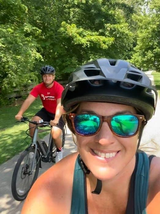 Adventure Mom and son biking on the Little Miami Scenic Trail