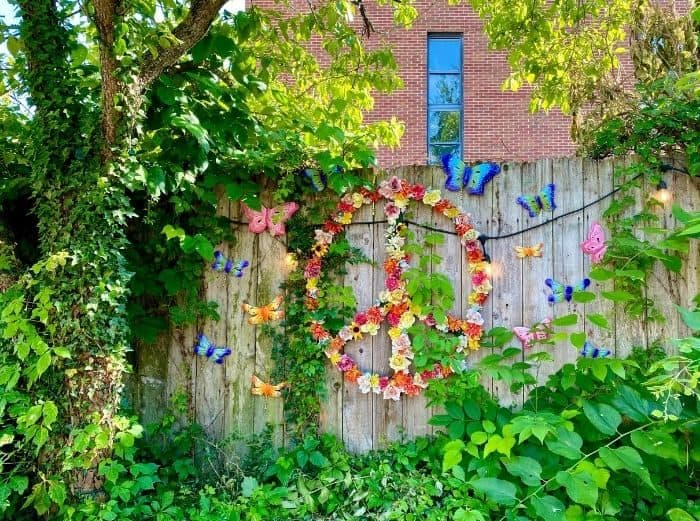 Peace sign made of flowers in Yellow Springs