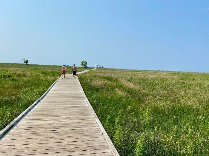 boardwalk to beach at Headlands Beach State Park