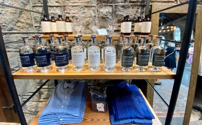 bottles at boiler room at Castle and Key Distillery