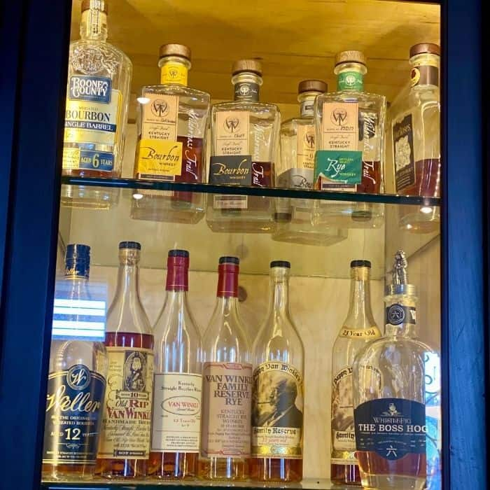 bourbon in case at The Kentucky Castle