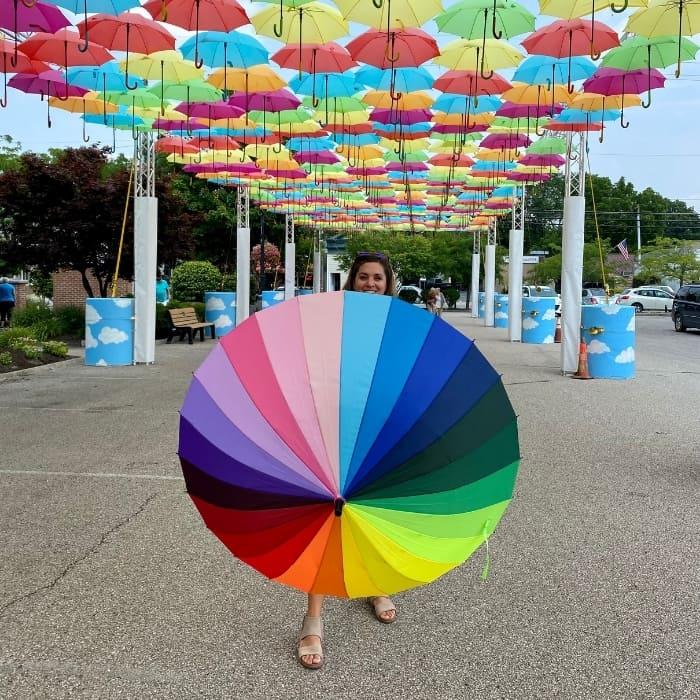 colorful umbrella at umbrella sky project Batesville