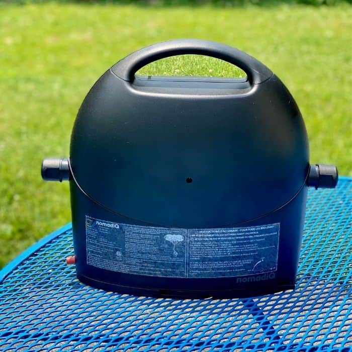compact portable gas grill folded up