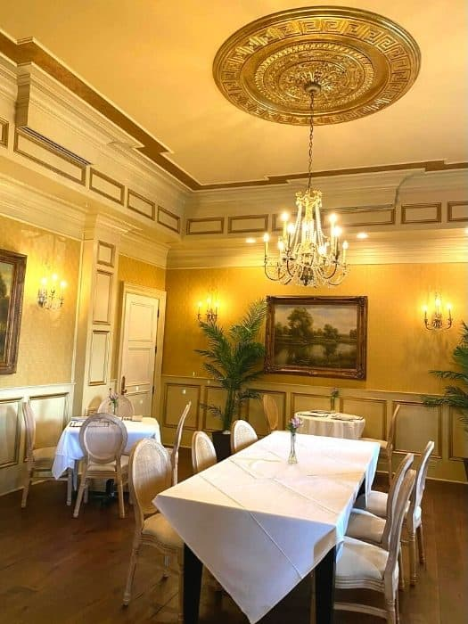 dining room for the restaurant at the Kentucky Castle
