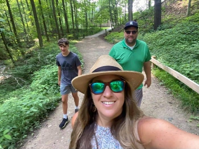 family on hiking trails near Squire's Castle