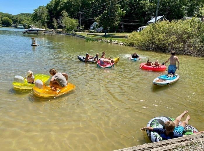 floats on Stony Lake in Michigan