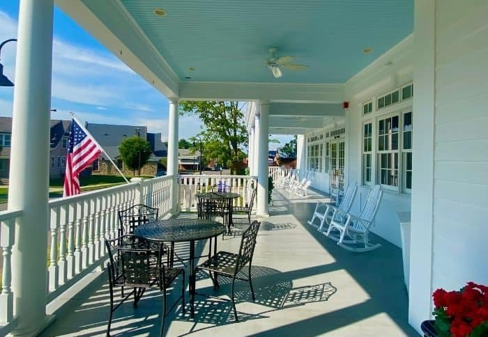 front porch at Mills Park Hotel in Yellow Springs
